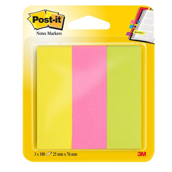 Segnapagina Post it® in carta - 25x76 mm - 3 colori Neon - Post it® - conf. 300 pezzi Foto prodotto