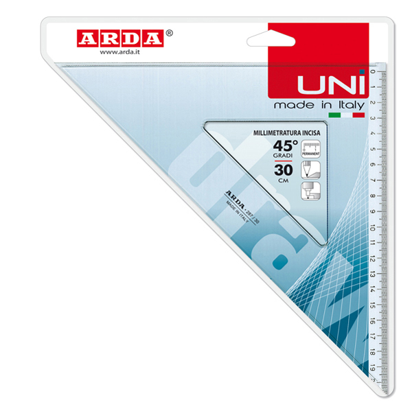 Squadra Uni - 45 gradi - 30 cm - Arda Foto prodotto