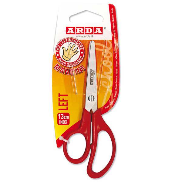 Forbici per mancini Left - impugnatura ABS - lama in acciaio - 13 cm - rosso - Arda Foto prodotto