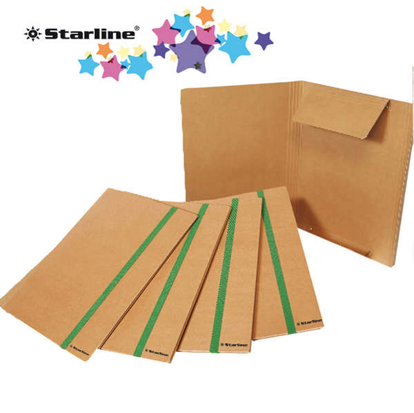 Cartellina con elastico - cartoncino FSC - 3 lembi - elastico colorato piatto da 20 mm  - 25 x 35 cm - Starline Foto prodotto