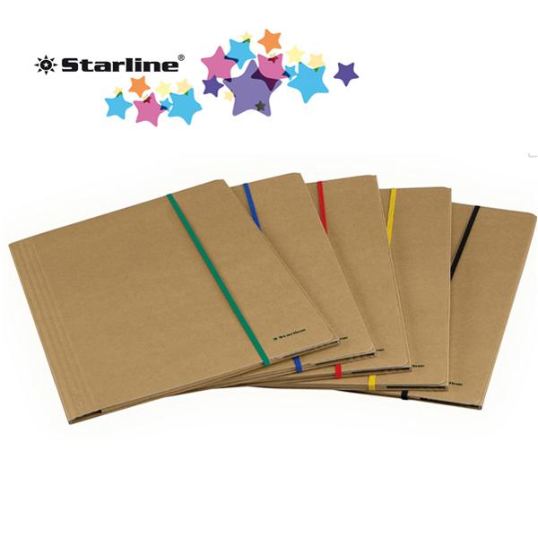 Cartellina con elastico - cartoncino FSC - 3 lembi - elastico colorato piatto da 5 mm  - 25 x 35 cm - avana - Starline Foto prodotto