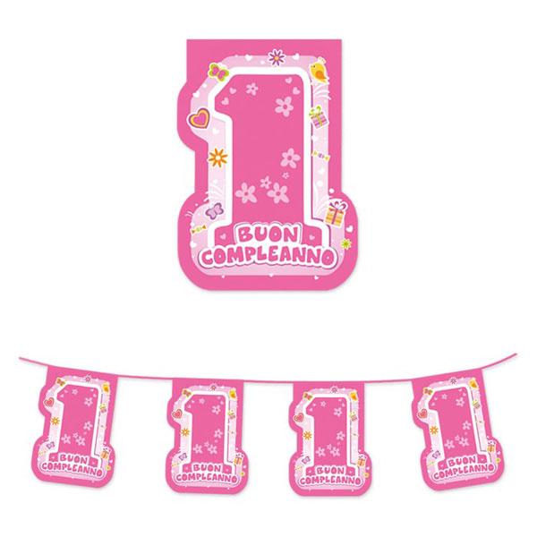 Festone sagomato Buon Primo Compleanno - 600 x 25 cm - plastica - rosa - Big Party Foto prodotto
