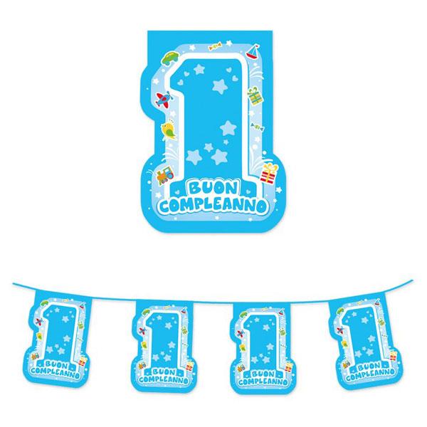 Festone sagomato Buon Primo Compleanno - 600 x 25 cm - plastica - azzurro - Big Party Foto prodotto