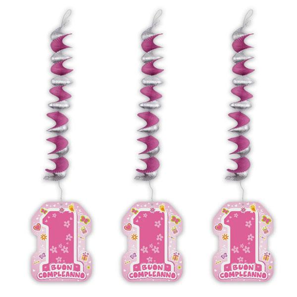 Addobbi Primo Compleanno One Pink con pendente - 20 x 80 cm - rosa - conf. 3 pezzi - Big Party Foto prodotto