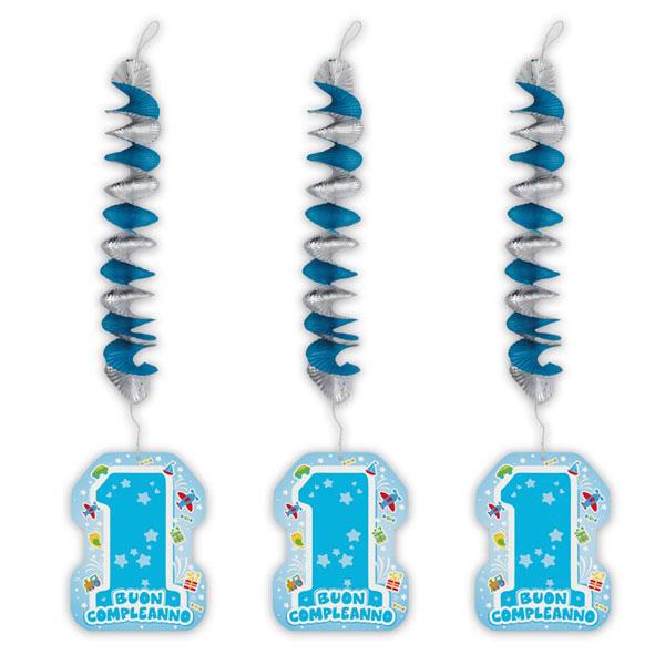 Addobbi Primo Compleanno One Light Blue con pendente - 20 x 80 cm - azzurro - conf. 3 pezzi - Big Party Foto prodotto