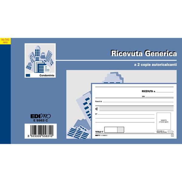 Blocco ricevute generiche - 9,9 x 17 cm -  50 fogli - 2 copie autoricaricanti - 50 fogli - Edipro Foto prodotto