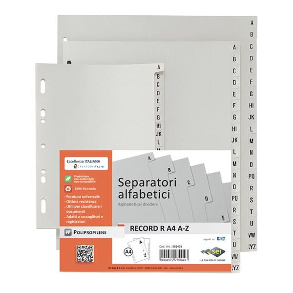 Separatore alfabetico -  foratura universale - A4 maxi - tasti stampati - grigio - Sei Rota Foto prodotto