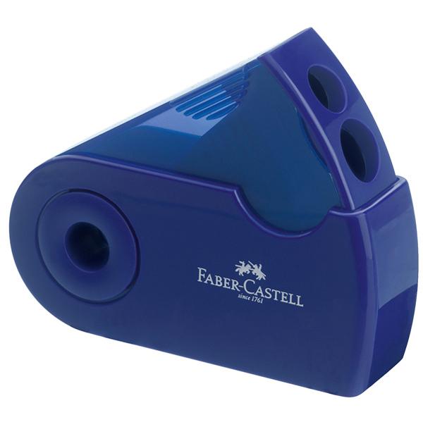 Temperamatite Sleeve con contenitore - 2 fori - con serbatoio - 70x34x20mm - rosso e blu assortiti - Faber Castell Foto prodotto