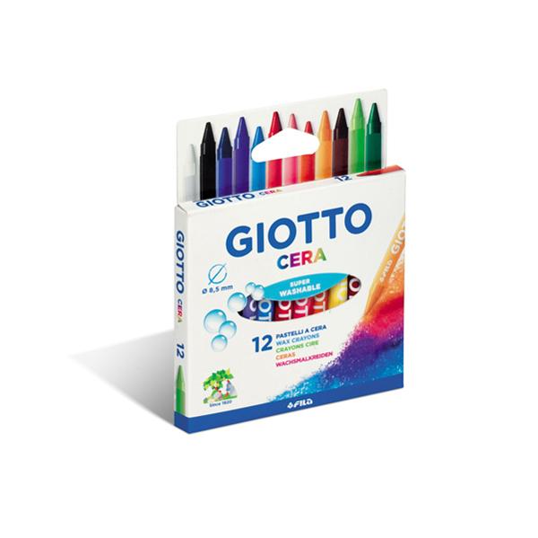 Pastelli cera - lunghezza 90 mm con Ø 8,50 mm- colori assortiti - Giotto -  astuccio 12 colori Foto prodotto