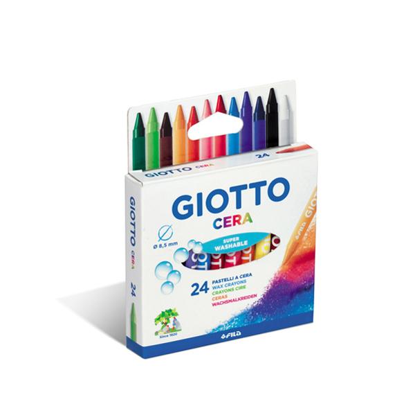 Pastelli cera - lunghezza 90 mm con Ø 8,50 mm- colori assortiti - Giotto - astuccio 24 colori Foto prodotto