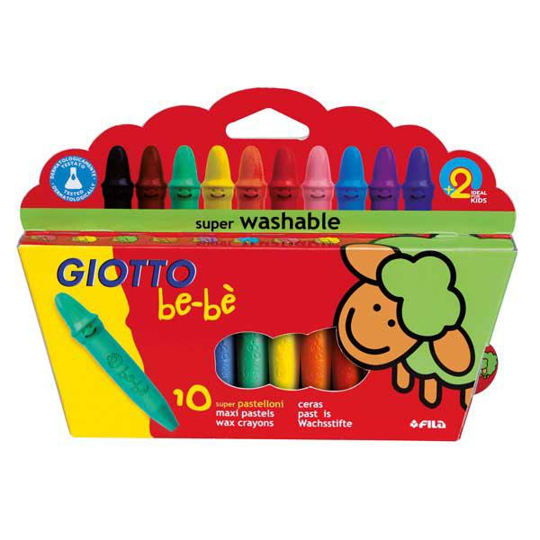 Pastelli cera super - lunghezza 7,5 mm - Ø 11 mm - colori assortiti - astuccio 10 superpastelloni - Giotto BeBè Foto prodotto