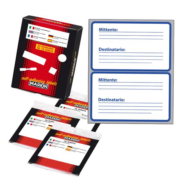 Etichetta adesiva permanente - 115 x 70 mm - Mittente/Destinatario - 2 etichette per foglio - 10 fogli per busta - bianco - Markin Foto prodotto