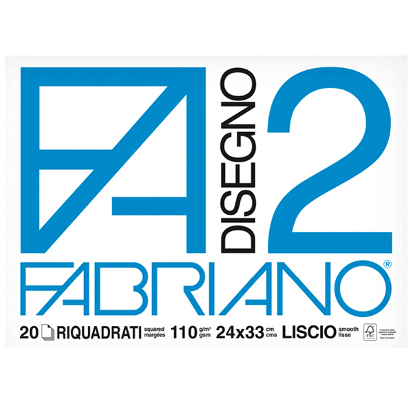 Blocco F2 - 24 x 33 cm - 20 fogli - 110 gr - liscio - squadrato - 4 angoli - Fabriano Foto prodotto