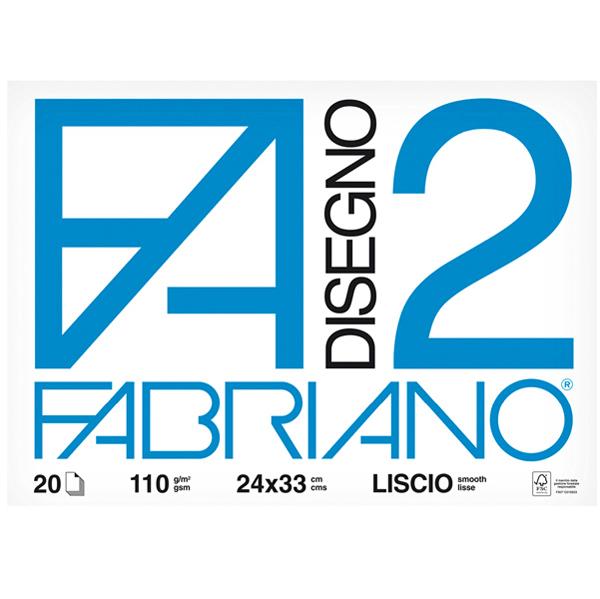 Blocco F2 - 24 x 33 cm - 20 fogli - 110 gr - liscio - 4 angoli - Fabriano Foto prodotto