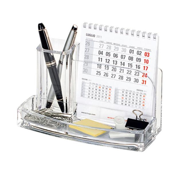 Portatutto da scrivania - acrilico - 20 x 12 x 10 cm - trasparente - Lebez Foto prodotto