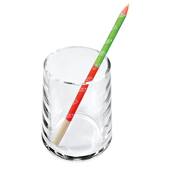 Portapenne a bicchiere - 7 x 10 cm - acrilico - trasparente - Lebez Foto prodotto