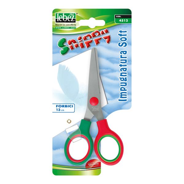 Forbici Snippy Soft - impugnatura plastica morbida - punta tonda - lama in acciaio - 13 cm - colori assortiti - Lebez Foto prodotto