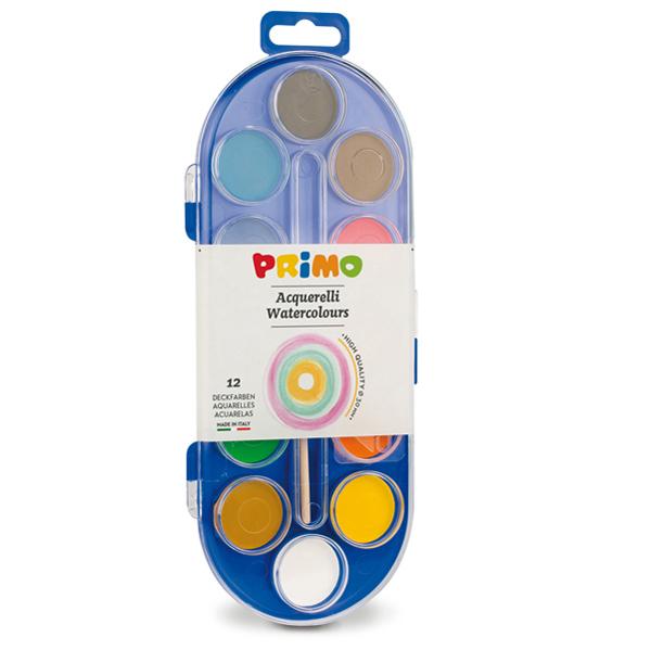 Pastiglie Acquerelli -  ø 30mm - colori assortiti - Primo - astuccio da 12 pastiglie Foto prodotto