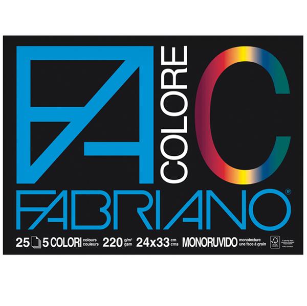 Blocco FaColore - 24 x 33 cm - 25 fogli - 220 gr - 5 colori - Fabriano Foto prodotto