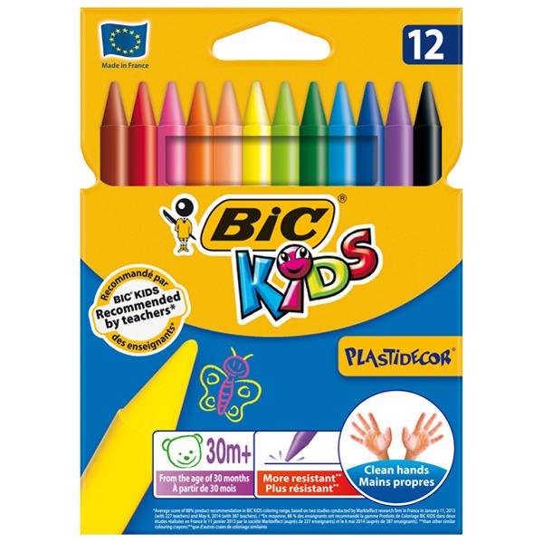Plastidecor pastelli colorati - in plastica - colori assortiti - Bic - astuccio 12 colori Foto prodotto
