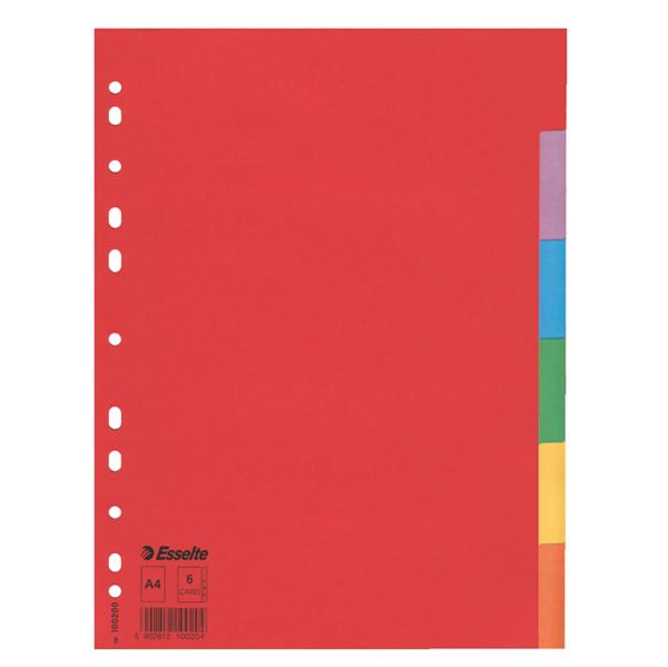 Separatore Economy - A4 - 160 gr - foratura universale - 6 tasti colorati - Esselte Foto prodotto