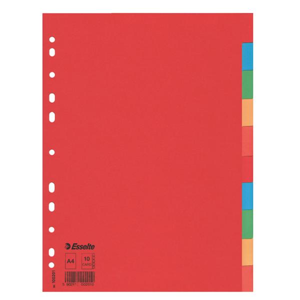 Separatore Economy - A4 - 160 gr - foratura universale - 10 tasti colorati - Esselte Foto prodotto