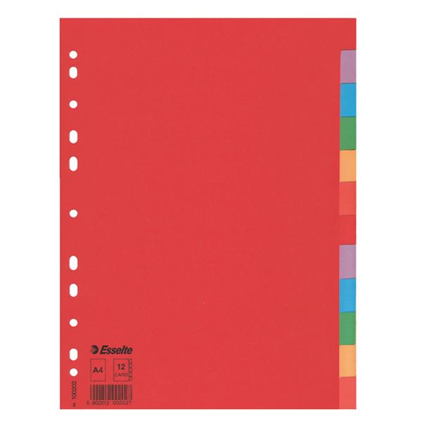 Separatore Economy - A4 - 160 gr - foratura universale - 12  tasti colorati - Esselte Foto prodotto