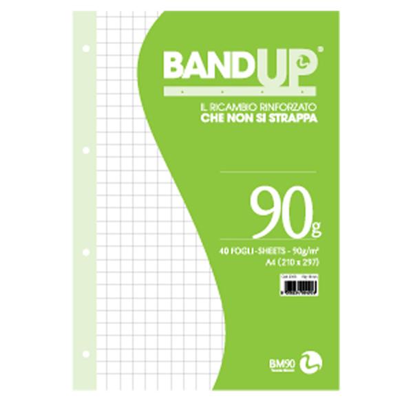 Ricambi BandUp forati rinforzati - A4 - quadretto 10 mm - 40 fogli - 90 gr - BM Foto prodotto