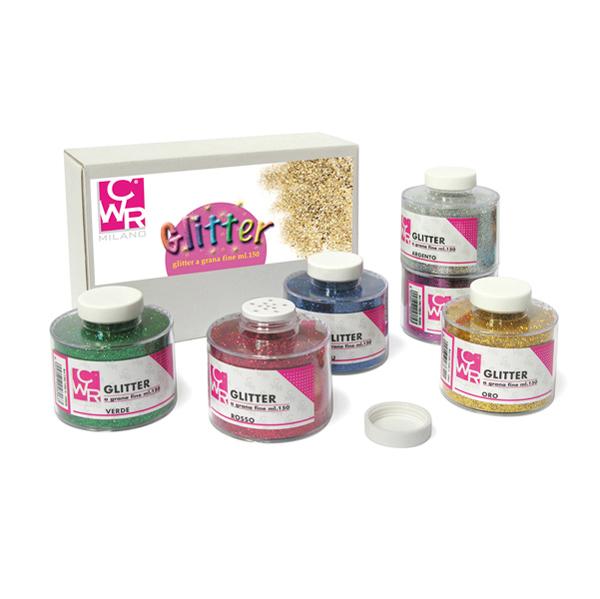 Glitter grana fine - 150 ml - colori assortiti - CWR - set 6 barattoli Foto prodotto