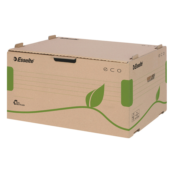 Scatola archivio EcoBox - 34 x 25,9 x 42,9 cm - apertura laterale - ocra - Esselte Foto prodotto