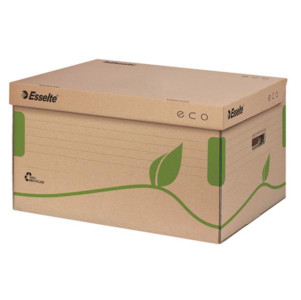 Scatola archivio EcoBox - 34 x 25,9 x 42,9 cm - apertura superiore - ocra - Esselte Foto prodotto