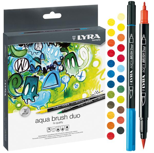 Pennarelli Aqua Brush Duo - una punta 2,0 mm - una punta 4,0 mm - astuccio 24 pezzi - Lyra Foto prodotto