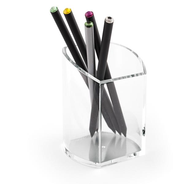 Bicchiere portapenne - acrilico - 7,5 x 7 x 10 cm - trasparente - Lebez Foto prodotto