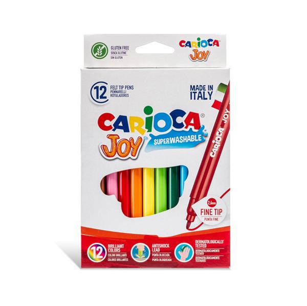 Pennarelli Joy - punta 2,6 mm - colori assortiti - lavabili - Carioca - scatola 12 pezzi Foto prodotto