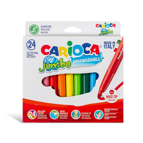 Pennarelli Jumbo - punta 6,0 mm - colori assortiti - lavabili - Carioca - scatola 24 pezzi Foto prodotto