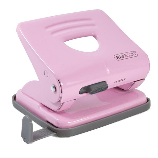 Perforatore 825 - massimo 25 fogli - 2 fori - passo 8 cm - rosa - Rapesco Foto prodotto