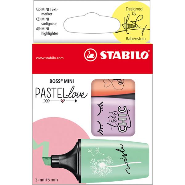 Evidenziatori Boss Mini Pastellove - punta a scalpello - tratto da 2,0 - 5,0 mm - astuccio 3 colori pastello : verde menta, glicine, rosa pesca  - Stabilo Foto prodotto