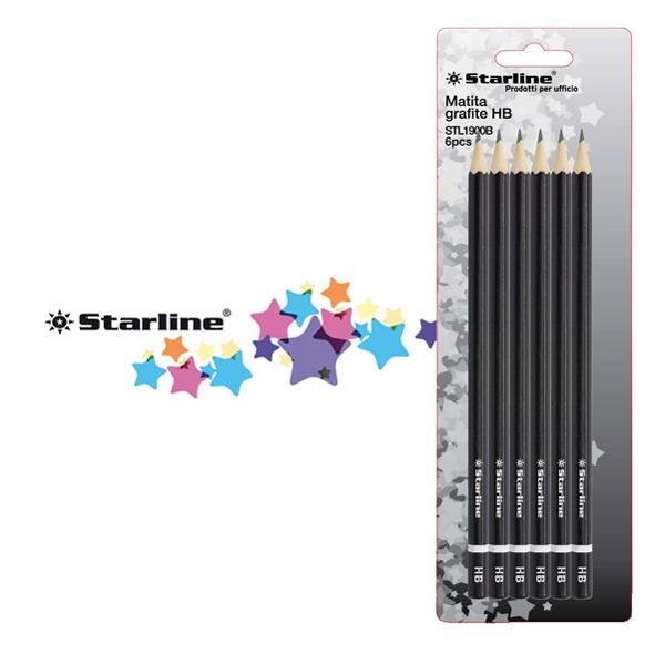 Matite in grafite - gradazione HB - Starline -  conf. 6 pezzi Foto prodotto