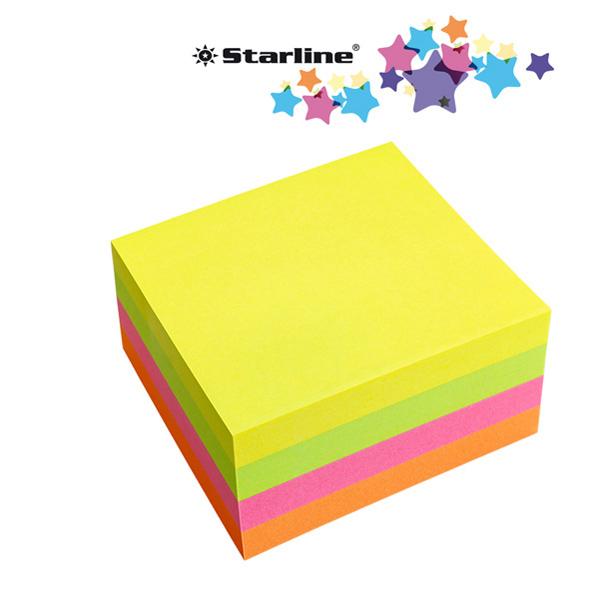 Biglietti adesivi Cubo - assortito neon - 75  x 75 mm - 70 gr - 320 fogli - Starline Foto prodotto