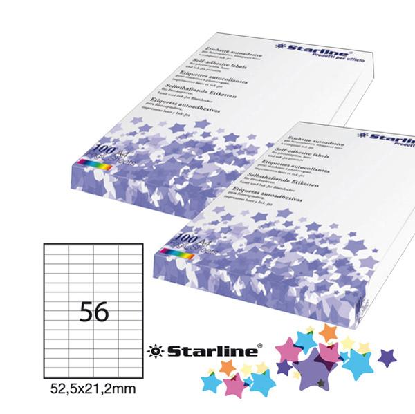 Etichetta adesiva - 52,5 x 21,2 mm - 56 etichette per foglio - bianco - Starline Foto prodotto