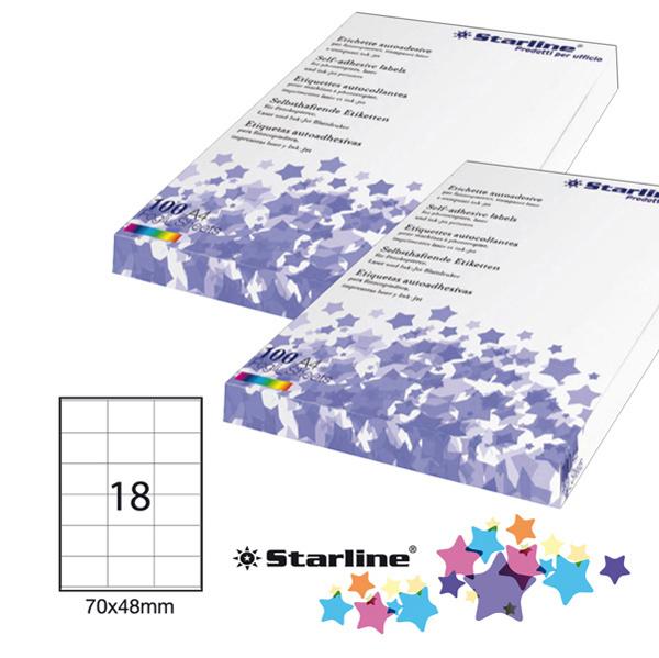 Etichetta adesiva - 70 x 48 mm - 18 etichette per foglio - bianco - Starline Foto prodotto