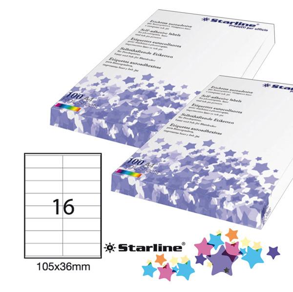 Etichetta adesiva - 105 x 36 mm - 16 etichette per foglio - bianco - Starline Foto prodotto