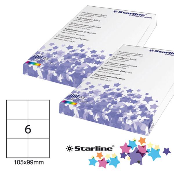 Etichetta adesiva - 105 x 99 mm - 6 etichette per foglio - bianco - Starline Foto prodotto