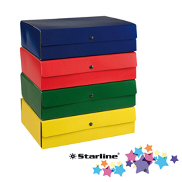 Scatola progetto in presspan - 25 x 35 cm - chiusura con 3 bottoni - dorso 14 cm - rosso - Starline Foto prodotto