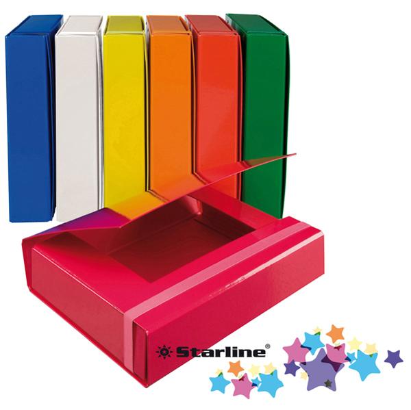 Cartella progetto con elastico in cartone plastificato - 25 x 34,5 cm - 3 lembi - dorso 7 cm - rosso - Starline Foto prodotto