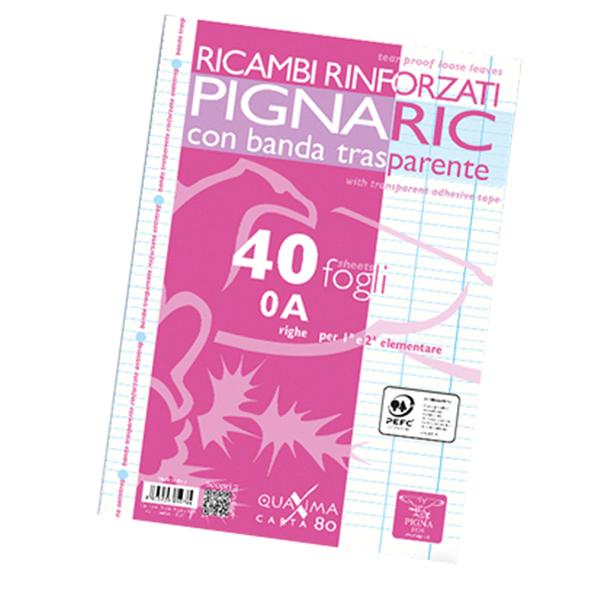 Ricambi forati rinforzati Pignaric - A4 - rigo di 1a - 40 fogli - 80 gr - Pigna Foto prodotto