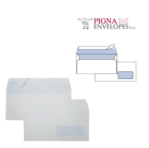 Busta con finestra - serie Edera Strip - 110 x 230 mm - conf. 25 pezzi - 90 gr - bianco - Pigna Foto prodotto
