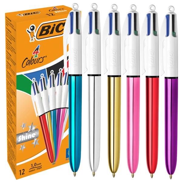 Penna sfera scatto multifunzione 4 Colours shine - punta 1,0 mm - 4 colori  - Bic Foto prodotto