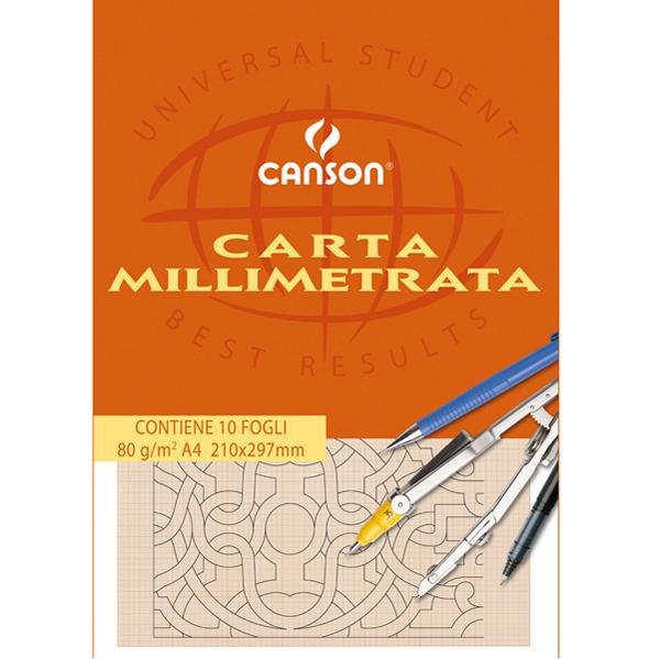 Blocco carta opaca millimetrata - 210 x 297 mm - 10 fogli - 80 gr - Canson Foto prodotto