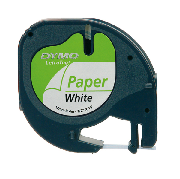 Nastro LetraTag per etichettatrici - 12 mm x 4 mt - in carta - bianco - Dymo Foto prodotto